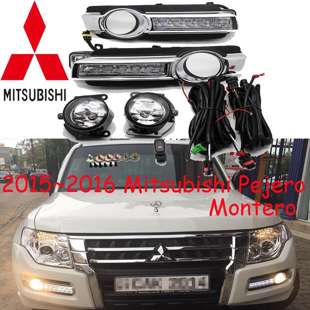 ФОТО LED headlight,Pajero daytime light,2015 2016 year,montero,chrome,LED,Free ship!2pcs,car-detector,Pajero fog light, montero