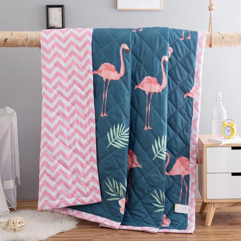 1PCS Summer Quilt Duvet Blanket Quilting Bedding Double Single Bed Comforters Bedspread Bed Cover Wedding Flamingos