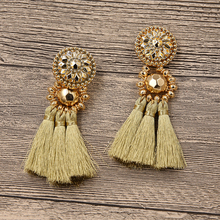 STRATHSPEY New Design Gold/Silver/Rose Gold/ Multi Colors Drop Earrings Bohemia Plastic Beads With Tassel Earrings for Women