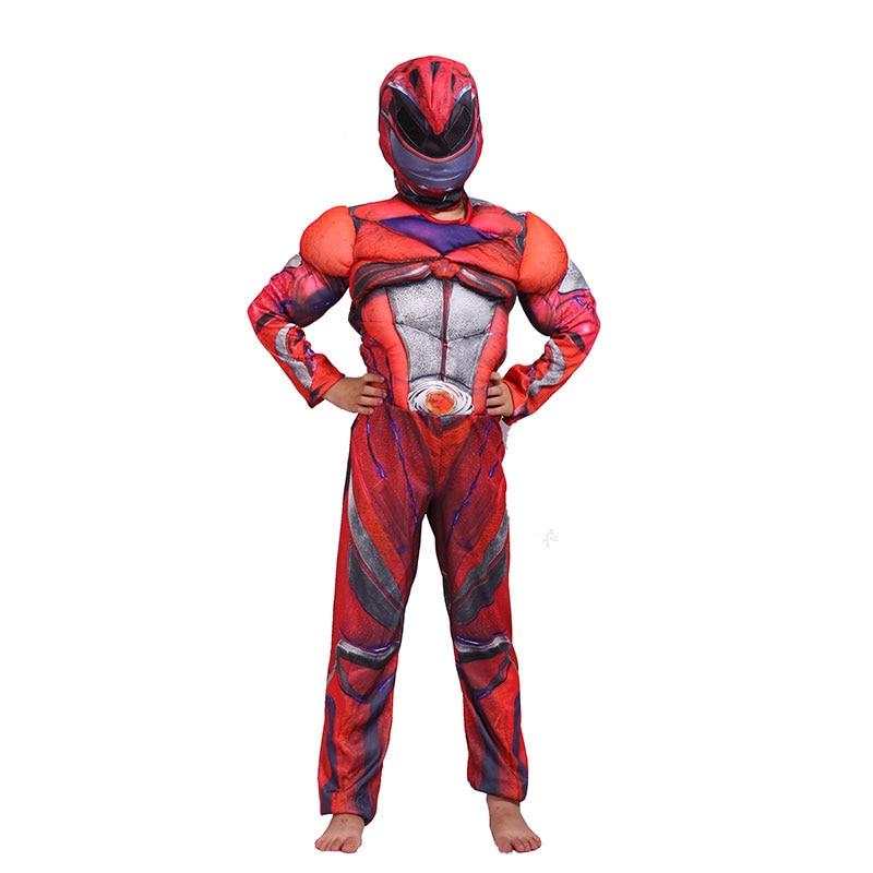 Boys Power Superman Costume Kids Children Muscle Superhero Thunder Red Ranger Party Cosplay Halloween Carnival Fancy Dress