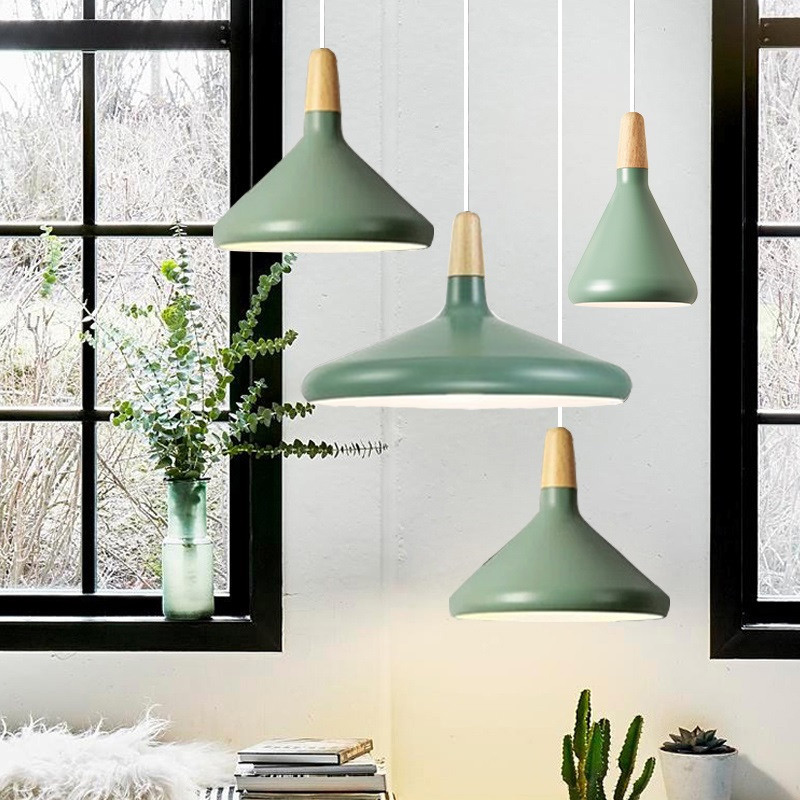 Bar Pendant Lighting Kitche Green Pendant Light Modern LED Lamp Hotel Wood Lights Room Study Office Ceiling Lamp Bulb Include|Pendant Lights| |  - title=