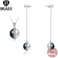 BISAER Silver 925 Sterling Silver Jewelry Sets Freshwater Pearl Black Earrings Necklace Pendant Women Dubai Fashion Jewelry Set