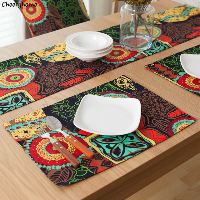 Cheeryhome Placemat Dining Table Mat Cotton Linen Tableware Pad Floral Print Napperon Coasters De Cozinha Plate & Cheeryhome Placemat Dining Table Mat Cotton Linen Tableware Pad ...