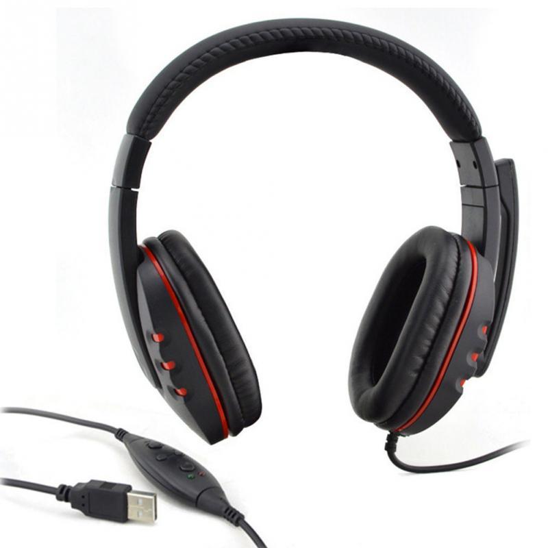 все цены на Handsfree Mic Headset Leather USB Wired Stereo Micphone Headphone Gaming Earphones for Sony PS3 PS4 PC Game Laptop онлайн