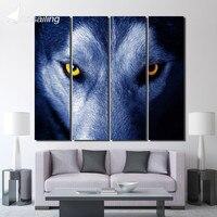 4 개 캔버스 그림 동물 늑대 눈 장식 거실 벽 아트 캔버스 인쇄 벽 패널 무료 배송/up-1360C
