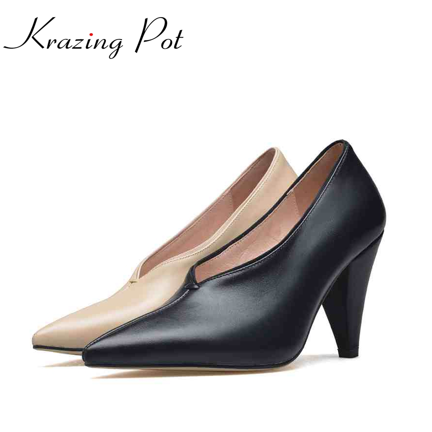 Krazing Pot fashion brand shoes genuine leather slip on pointed toe concise lazy style strange high heels women cozy pumps L73 krazing pot new fashion brand shoes square toe shallow women pumps metal strange high heels slip on causal office lady shoe 02