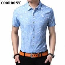 COODRONY Soft Cotton Men Shirt 2019 Summer Short Sleeve Clothes Streetwear Fashion Print Slim Fit Casual Shirts S96064