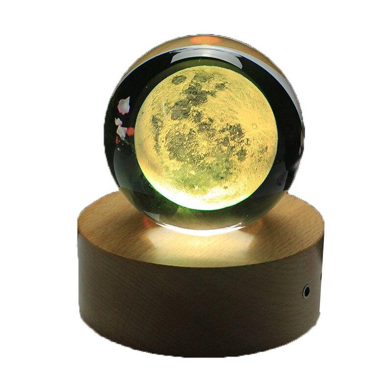 Rotatif lumineux lune boîte à musique boule de cristal 3d Illusion lampe USB Led veilleuse cadeau de noël enfants lumières décoration maison