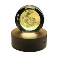 Rotating Luminous Moon Music Box Crystal Ball 3d Illusion Lamp USB Led Night Light Christmas Gift Kids Lights Decoration Home