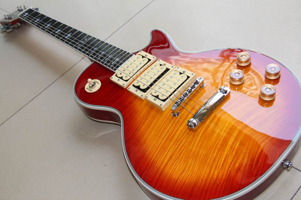 New Arrival ustom Ace frehley signature 3 pickups Les Electric Guitar,Solid mahogany paul guitar in cherry burst 120528 forestwind new arrival hot selling junior standard style pickups electric guitar 2 pic free shipping