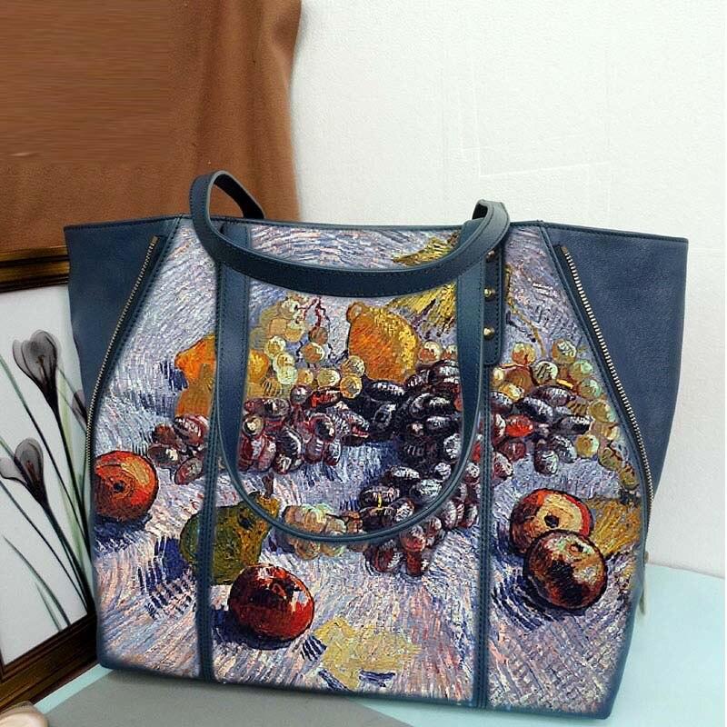 BIG Capacity High Quality Women Genuine Leather HandBags Totes Messenger Bags Designer printing Vincent Willem van Gogh Fruit н w grohn vincent van gogh