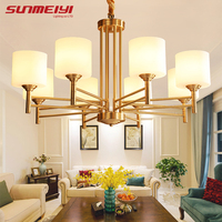 American Modern LED Chandeliers For Living Room Dining Room Lustres Para Quarto All Copper Vintage Chandelier
