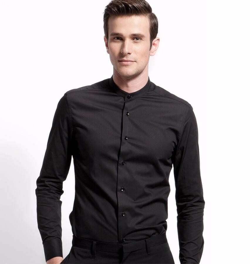 Spring Autumn Male Long Shirts Black White Long Sleeve Shirt England Mens Groom Wedding Clothes Tide Casual Solid Color Shirts Casual Shirts