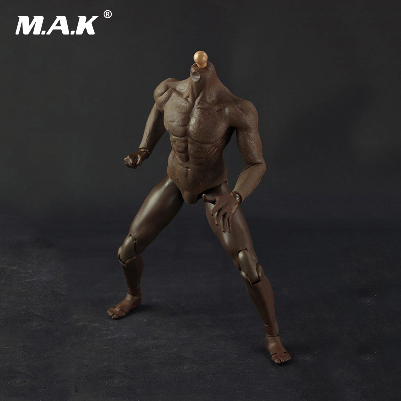 12 Inches Mens Muscle Rubber Body Black Skin Figures Bodies For 16 Scale Male Head Sculpts Brinquedos Toys Collections