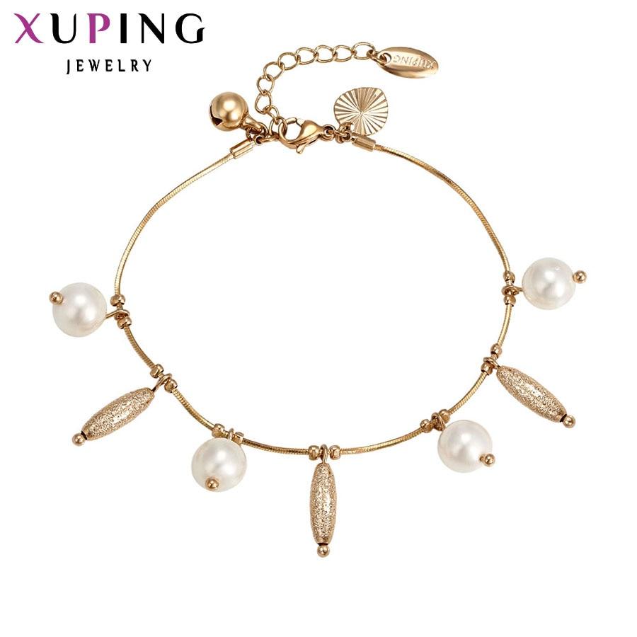 Xuping divat karkötő Új érkezés Elegáns női barátság karkötők Arany színű alacsonyabb árú ékszerek 73542