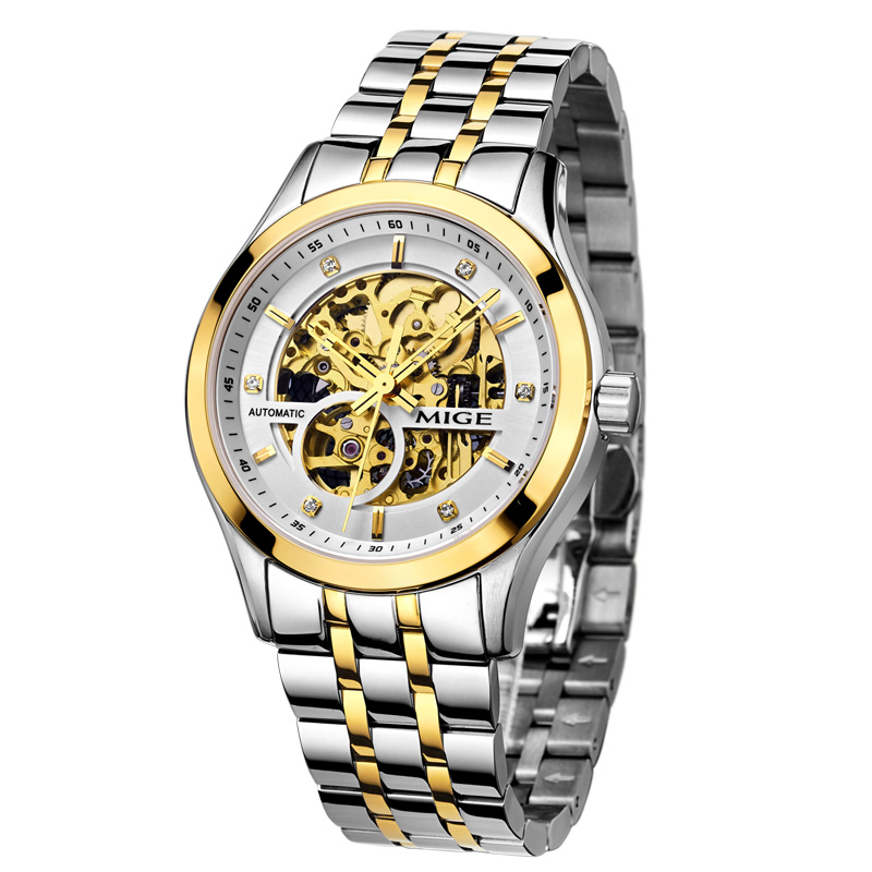 Mige 2017 New Real Hot Sale Skeleton Mechanical Mans Watch Automatic Movement Waterproof White Gold Steel Watchband Man Watches new arrivel white dial mens automatic skeleton mechanical watch with two movement freeship
