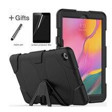 Samsung Galaxy Tab için bir 10.1 2019 T510 T515 SM T510 Tablet darbeye dayanıklı sert çanta askeri ağır silikon sağlam standı kapak