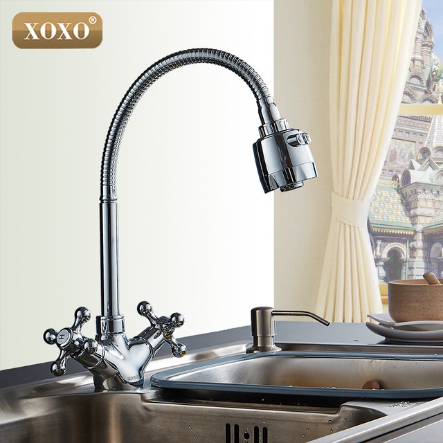 XOXO Double Handle Silver Mixer Of Cold And Hot Water Copper Kitchen Faucet  2272