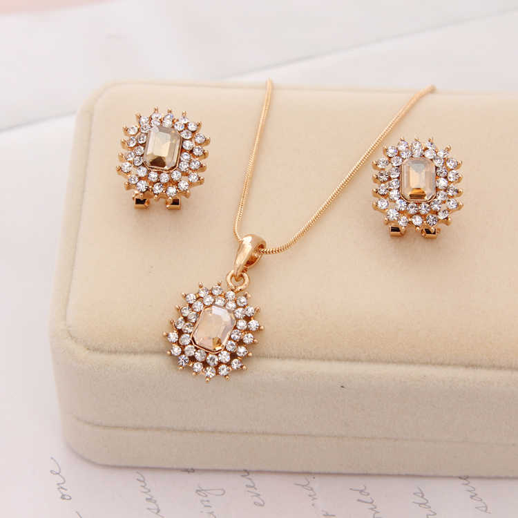 אופנה פנינה תכשיטי סטי CZ אבן זהב שרשרת קריסטל תליון שרשרת/עגילי כלה אביזרי סטי תכשיטי חתונת נשים