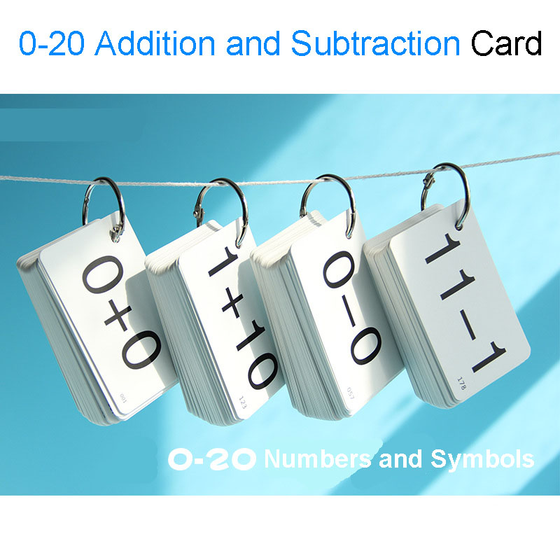 0-20 Math Cards Addition&Subtraction Arithmetic Card Baby Learning Cards Flash Cards Montessori Educational Toys For Children