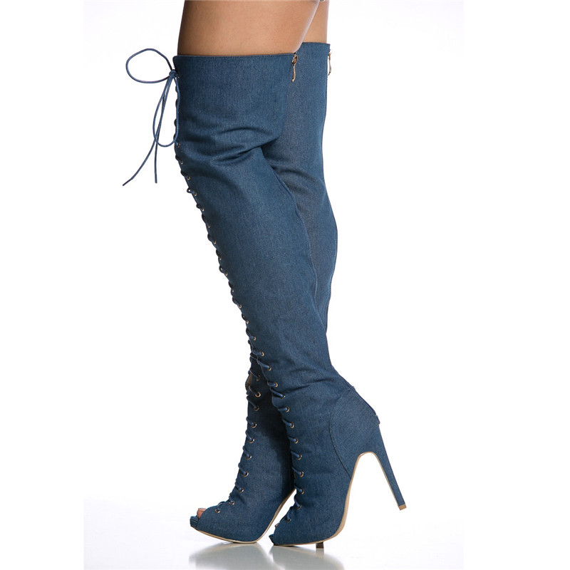 b08c363944c8d Dark Denim Lace Up Peep Toe Thigh High Boots Adjustable Laces Back Zipper  High Heels Over The Knee Long Boots Nightclub Shoes-in Over-the-Knee Boots  from ...