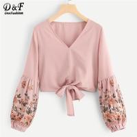 Dotfashion Bishop Sleeve Floral Print Knot Hem Crop Blouse Women Casual 2019 Tops Autumn New Clothing V Neck Korean Style Shirt