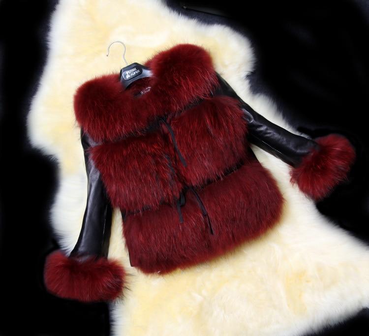 6fd130a77df Fashion Women Leather Sleeve Faux Fur Jacket With Fox Fur Shearling Coat Of  Raccoon Dog Mink Coats Short Clothing For Women-in Faux Fur from Women's ...
