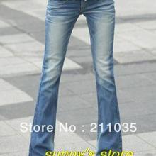 Женские весенние низкие расклешенные брюки, женские осенние Стрейчевые обтягивающие расклешенные джинсы, женские отбеленные вымытые хлопковые узкие длинные брюки
