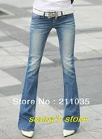 Woman Spring Low Flare Pants Female Autumn Stretch Skinny Flare Jeans Women Bleached Washed Cotton Slim Full Length Trousers