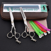 6 Inch Professional Hair Cutting Scissors And Thinning Scissor With Dragon Style Handle Stainless Steel Styling