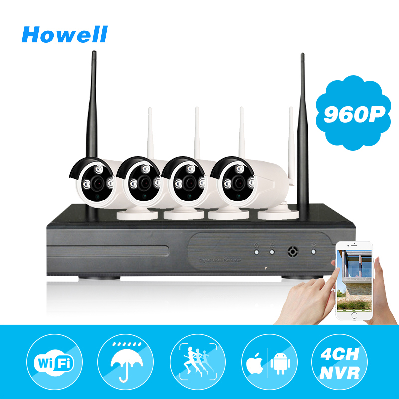 Howell HD 960P 4CH HDMI NVR Kit CCTV Surveilance Cameras Wifi IP65 Waterproof Outdoor CCTV Home Security Camera Bullet Monitor