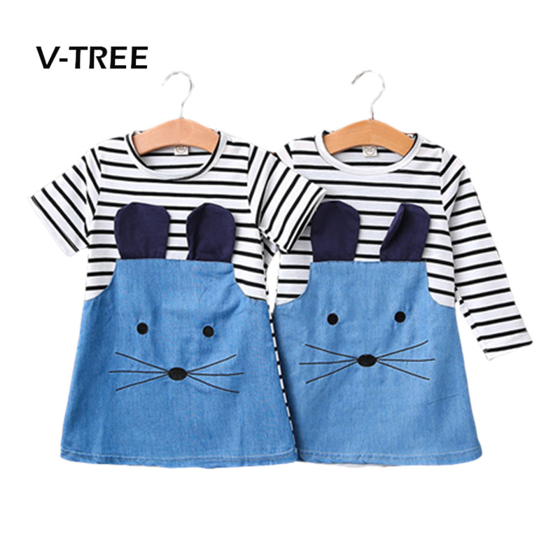 V-TREE Baby Girls Dress New Spring Summer Striped Dress For Girl Kids Jeans Demain Dress Children Baby Clothes 2pcs children outfit clothes kids baby girl off shoulder cotton ruffled sleeve tops striped t shirt blue denim jeans sunsuit set