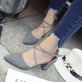 2017 New Arrival High Heel Pumps Cross Strap Sexy Shallow Mouth Pointed Toe Shoes 7 CM Square Heel OL Shoes