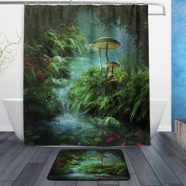 Fantasy Nature Jungle Tree Leafs Shower Curtain And Mat Set River With A Pond Fish Koi Mushroom Waterproof Fabric