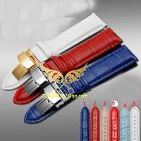 16mm 18mm  20mm 6 colours Soft Genuine Leather Alligator Grain  Gold Butterfly clasp Watch Band  Free shipping