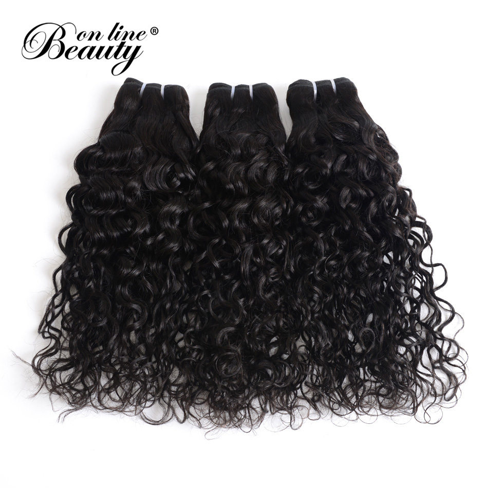 BOL Human Hair Brazilian Water Wave 100% Remy Human Hair Weave 3 Bundles Natural Hair Extensions 1B# Natural Black Can Be Dyed
