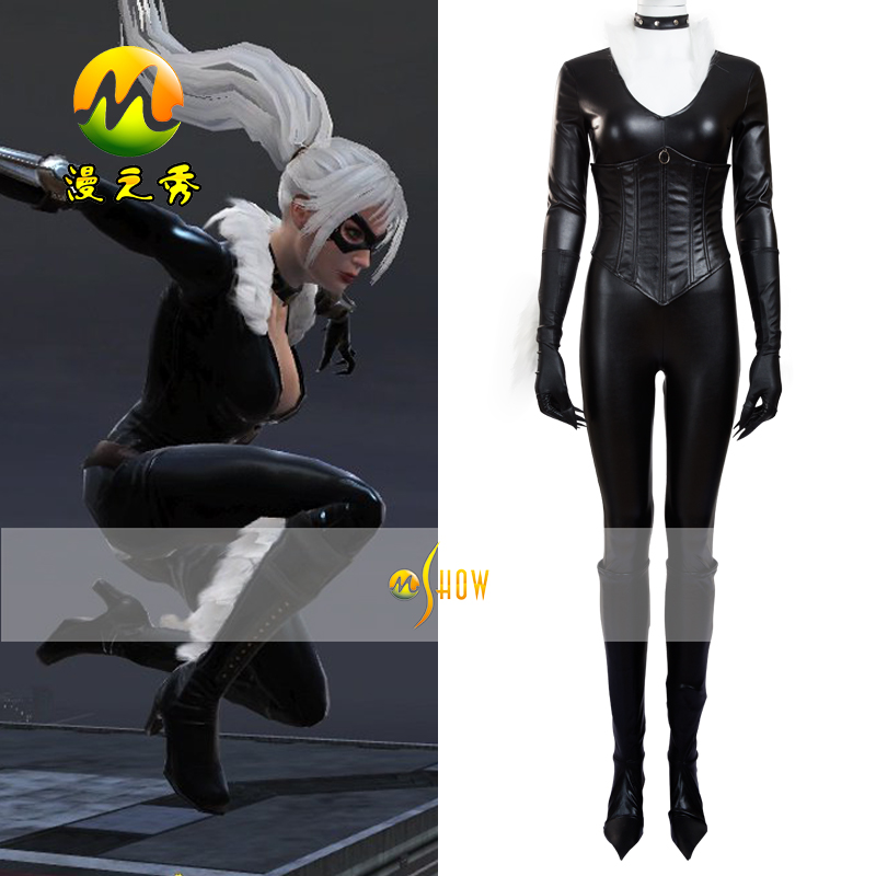 Black Cat Cosplay Costume The amazing Spider-Man Black Cat Costume Jumpsuit For Halloween Party Suit Leather Sexy Dress