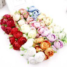 6 PCS/lot 5 CM Silk Artificial Tea Rose Wedding Decoration DIY Wreath Gift Box Cut & Clip Craft Fake Flower
