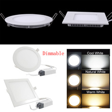 Dimmable Slim LED Panel Light Ceiling Light Recessed Bulb AC85-256V 3W/6W/9W/12W/15W/18W/24W Round/Square LED Ceiling Light dimmable led panel light spot lights lamps led panel light 3w 4w 6w 9w 12w 15w 18w 24w modern pendant ceiling chandelier