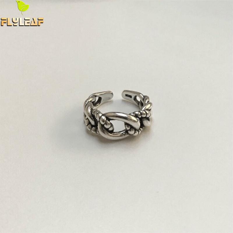 Flyleaf 925 Sterling Silver Hemp Rope Weaving Rings For Women High Quality Vintage Fashion Jewelry Open Ring Femme Temperament