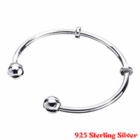Top Quality MOMENTS Silver Open Bangle With Pan Logo Caps Bangle Bracelet Fit Women Bead Charm