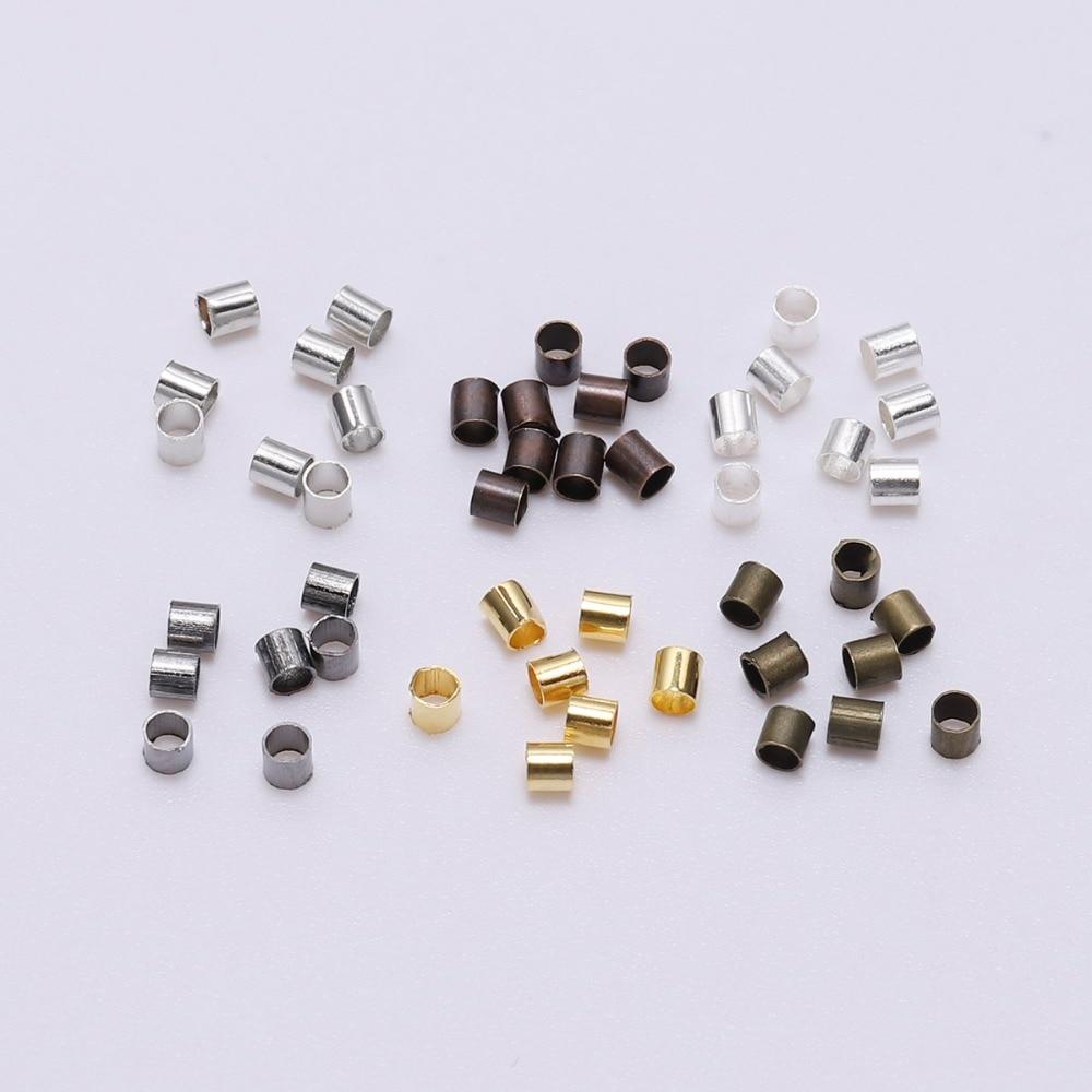 500pcs/lot 1.5 2.0 2.5 Mm Alloy Round Crimp Beads Tube DoreenBead Spacer Bead Cord Tip