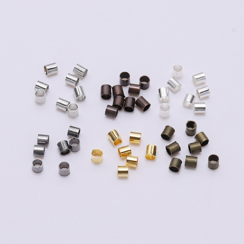 500pcs/lot 1.5 2.0 2.5 mm Alloy Round Crimp Beads Tube DoreenBead Spacer Bead Cord Tip All Beading Wire Connectors For Jewelry(China)