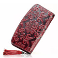 Fashion Women Genuine Embossed Leather Long Wallet Clutch Wrist Bag Cell Phone Money Card Holder Coin Purse Luxury Lady Wallets
