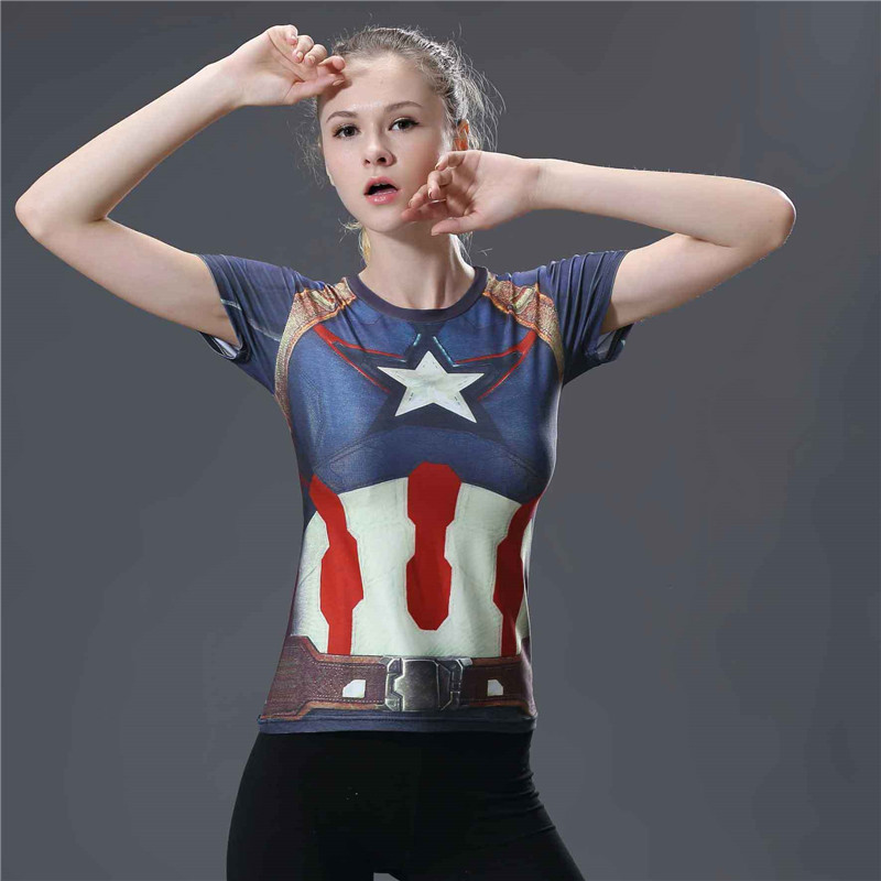 Short Sleeve Dri-fit Captain America Compression Top Tee Shirt for Gym