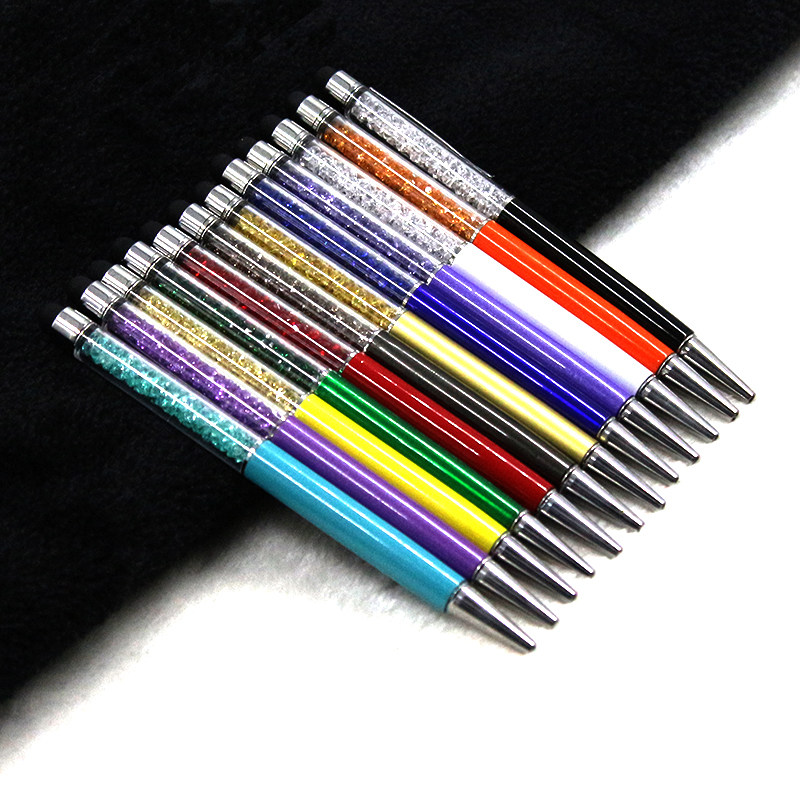 12 Colors Crystal Ballpoint Pen Fashion Creative Stylus Touch Pen For Writing Stationery Office & School Pen Ballpen Black Blue