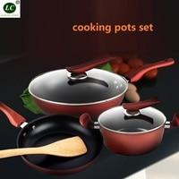 Kitchen Pots Non stick Wok Casserole 3 piece set Containing Wok Frying Pan Soup Pan Spatula Cooker General Purpose