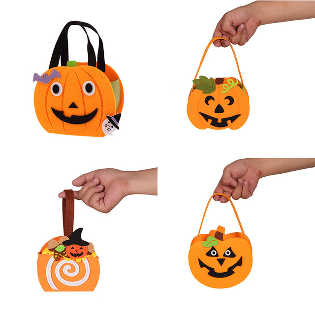 Halloween Candy Bag Pull Flannel Pumpkin Bag Diy Cute Decorations Children Kids Halloween Props Tote Candy