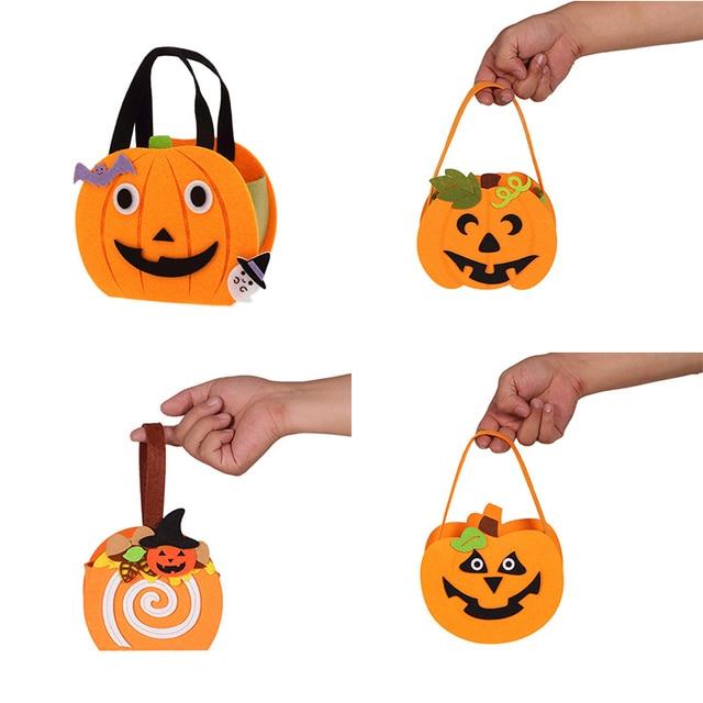 Halloween Candy Bag Pull Flannel Pumpkin Bag DIY Cute Decorations ...