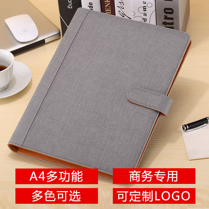Fashion PU Leather File Folder For Documents A4 For Papers Ring Binder Artificial Leather A4 With Signature Pen 1163